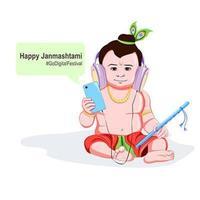 krishna janmashtami go diseño de festival digital