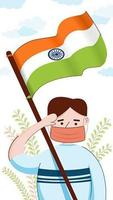 Indian man with a new lifestyle of safety on independence day vector