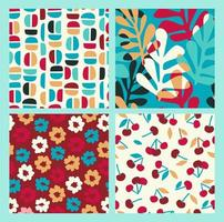 Seamless patterns with flowers, cherry and leaves and geometric shapes