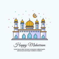 carte de conception de mosquée de muharram heureux