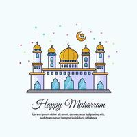Happy Muharram mosque design card vector