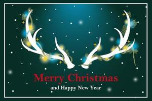 cuernos de reno decorados con luces tarjeta de felicitación de navidad vector