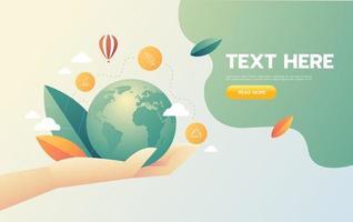 Mano sujetando el concepto de icono de negocio ecológico mundial