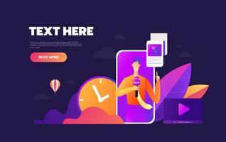 Mobile news app concept vector