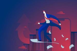 Business man rides on money paper air plane