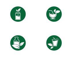 Detox green round water icon set  vector