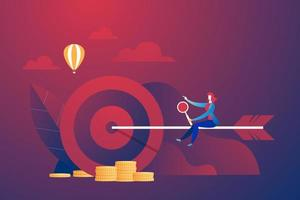 Business person riding arrow to target vector