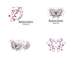 Pink and purple butterfly logo icon set