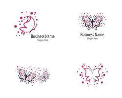 set di icone logo farfalla rosa e viola