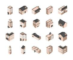 edificios y casas conjunto de iconos isométricos vector
