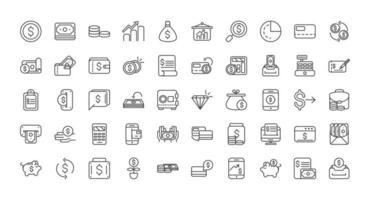 economía y finanzas conjunto de iconos de arte de línea gruesa vector