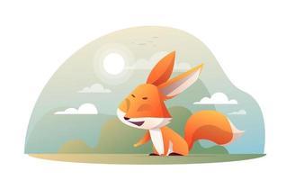 Cute fox in the garden vector
