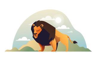 Summer lion cartoon in garden vector