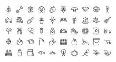 Conjunto de iconos de arte de línea gruesa de granja orgánica vector
