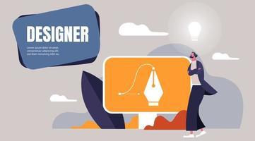 graphiste, concept de carrière indépendant vecteur