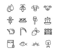 Collection of organic farm thick line art icons  vector