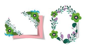 plantilla de tarjeta de felicitación de flores verdes