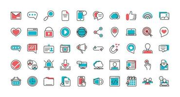 Set of social media line art icons  vector