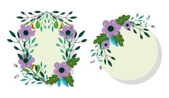 Violet flowers greeting card template vector