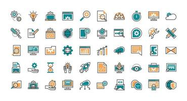 Collection of web development line art icons  vector