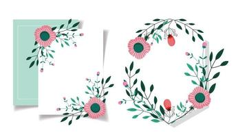 Floral greeting card template vector