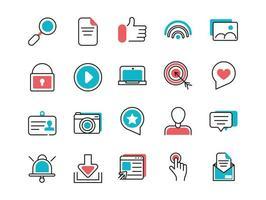 colección de iconos de arte de línea de redes sociales