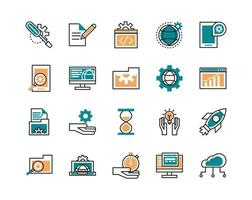 Assorted web development line art icons  vector