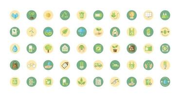 Pack of eco and green energy sign icons vector
