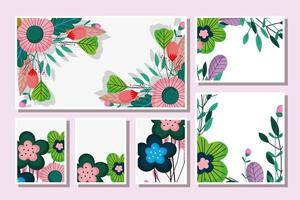 Collection of floral cards template vector