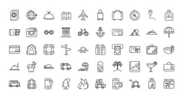 Assortment of vacation and tourism thick line art icons vector