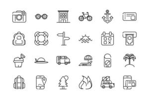 Pack of vacation and tourism thick line art icons