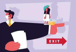 Businessman boss dismissing employee