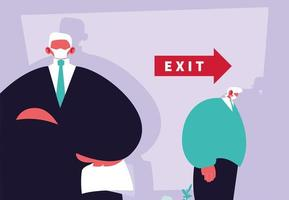 Businessman boss dismisses employee