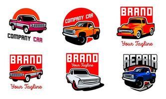 Set of classic truck emblems  vector