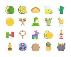 Pack of Mexican cultural icons vector