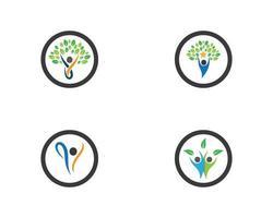 conjunto de iconos de logotipo de vida saludable circular
