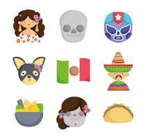 Collection of Mexican cultural icons vector
