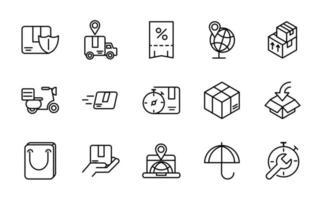 pacote de ícones de vetor de logística e entrega