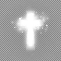 cruz blanca brillante y luz del sol vector