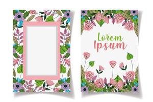 Save the Date floral framed cards template vector