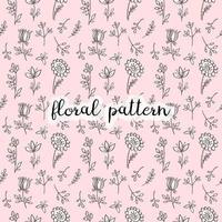 Doodle floral tileable background vector