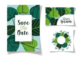 Foliage Save the Date cards template set vector