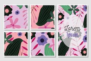 Cute floral postcards template pack vector
