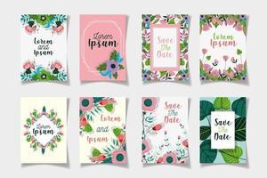 geassorteerde sparen de sjablonen van de datum bloemenkaarten