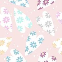 Cute flowers in heart shape pattern vector