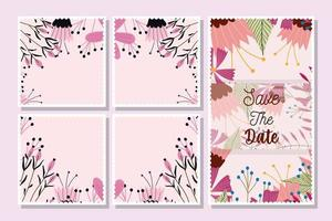 Save the date floral postcards template pack vector
