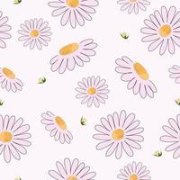 hand getekend roze bloemenpatroon