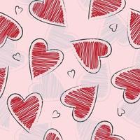 Cute hand drawn heart shape pattern vector