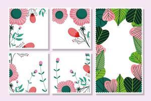 Festive floral postcards template pack vector