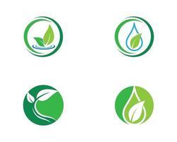 conjunto de ícones de folha verde redondo de ecologia